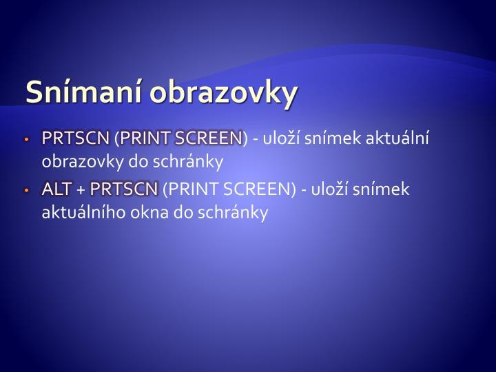 Snímaní obrazovky