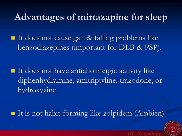 Advantages of mirtazapine for sleep