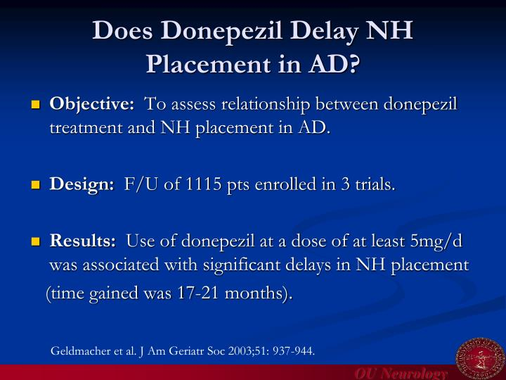 Does Donepezil Delay NH Placement in AD?