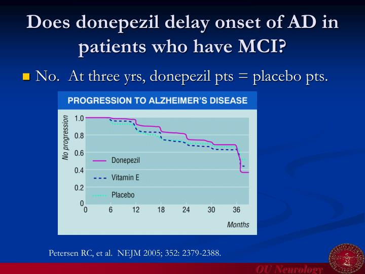 Does donepezil delay onset of AD in patients who have MCI?