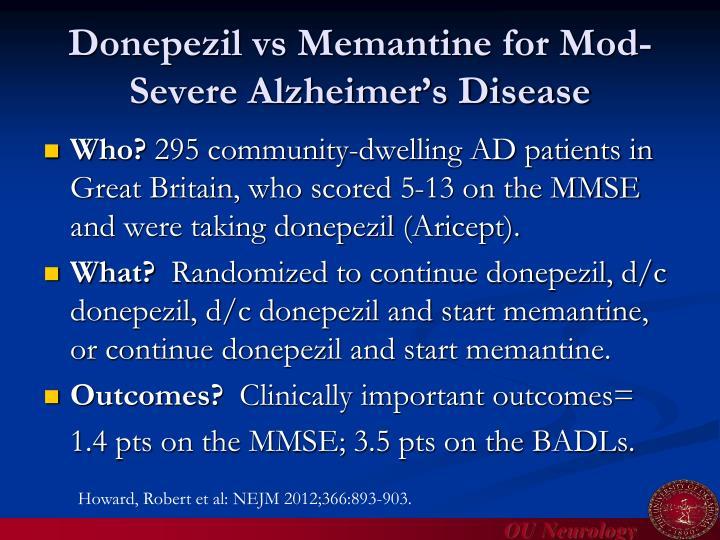 Donepezil vs Memantine for Mod-Severe Alzheimer's Disease