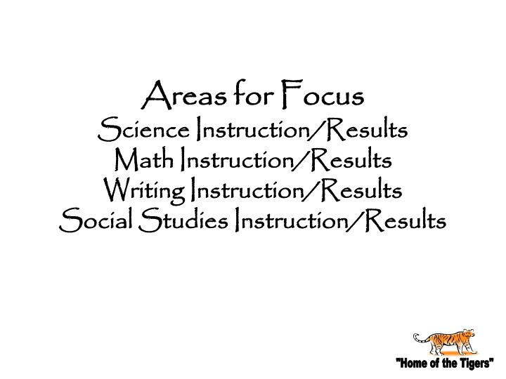 Areas for Focus