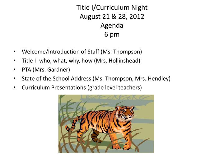 Title I/Curriculum Night