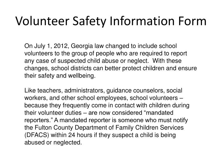 Volunteer Safety Information Form
