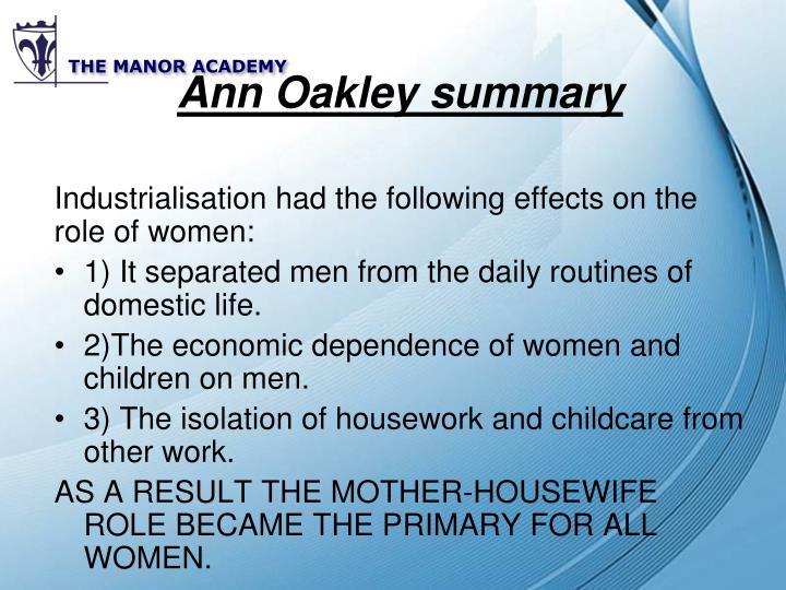 Ann Oakley summary