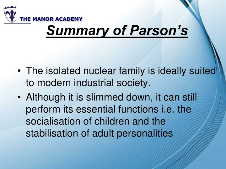 Summary of Parson's