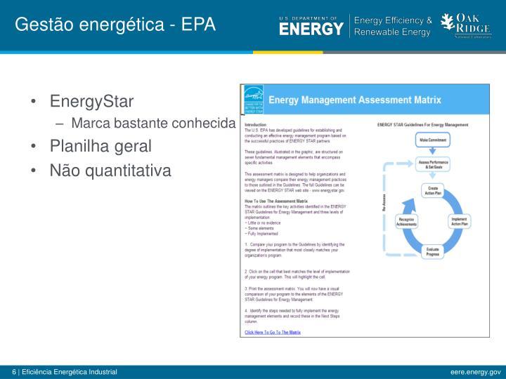 Gestão energética - EPA