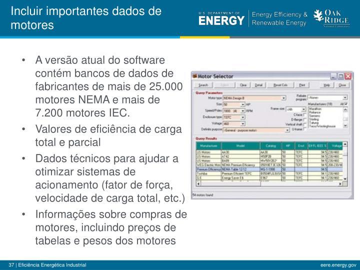 Incluir importantes dados de motores