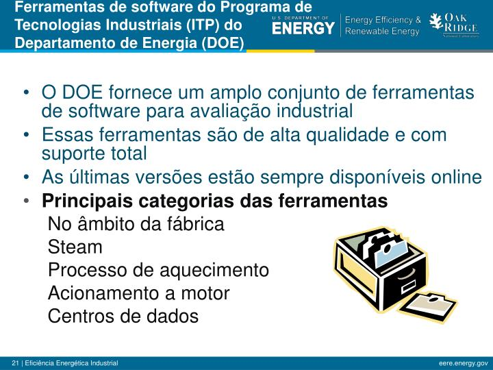Ferramentas de software do Programa de Tecnologias Industriais