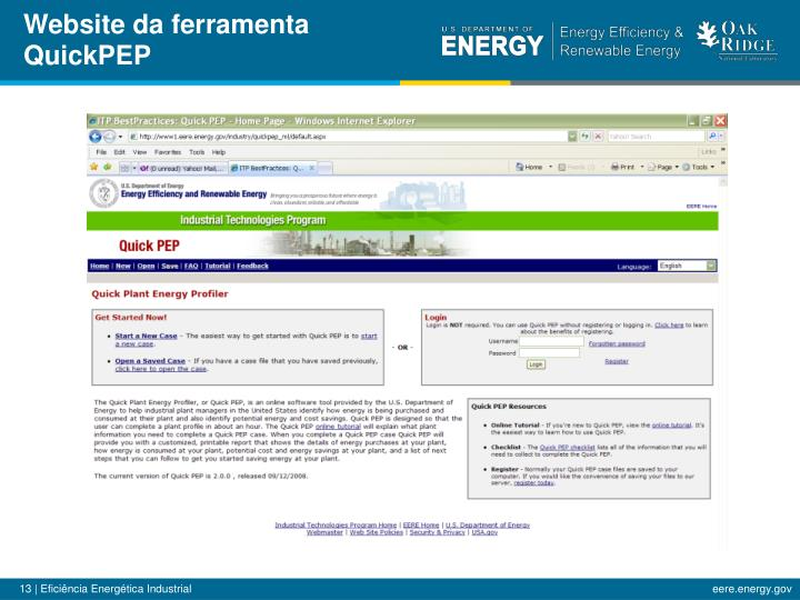 Website da ferramenta QuickPEP