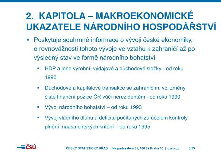 2.  kapitola – Makroekonomické ukazatele národního hospodářství