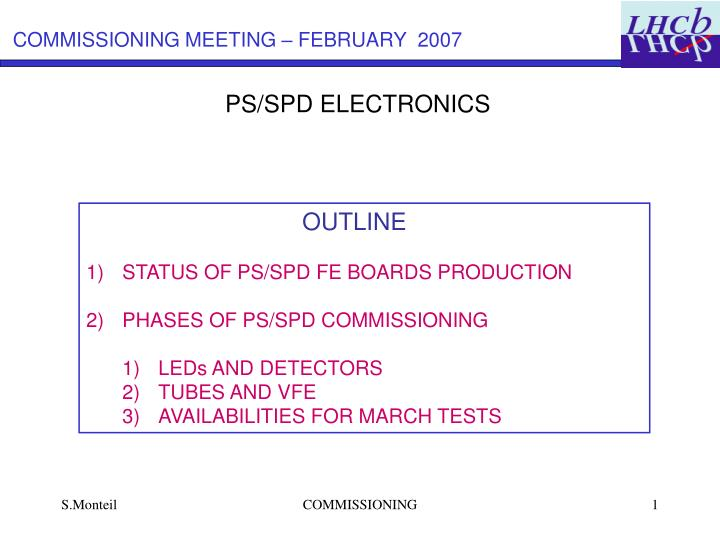 COMMISSIONING MEETING – FEBRUARY  2007