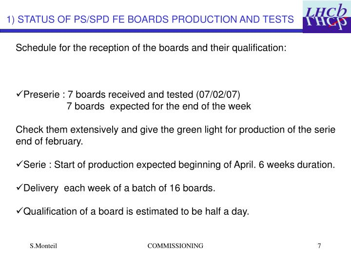 1) STATUS OF PS/SPD FE BOARDS PRODUCTION AND TESTS
