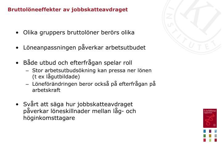 Bruttolöneeffekter av jobbskatteavdraget