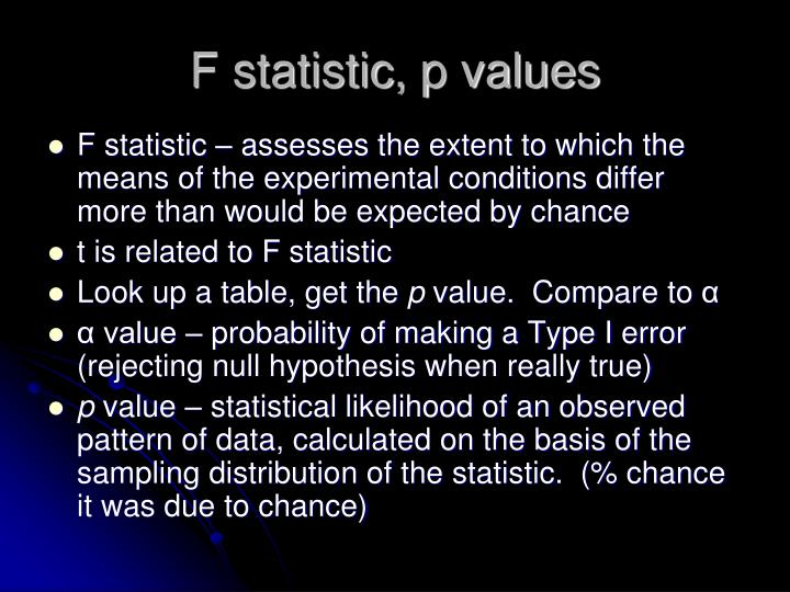 F statistic, p values