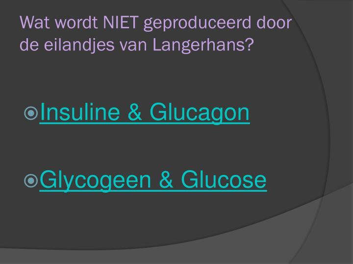 Wat wordt NIET geproduceerd door de eilandjes van Langerhans?