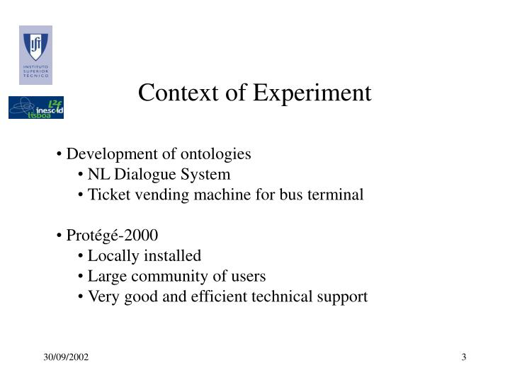 Context of Experiment