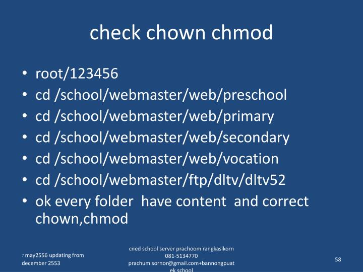 check chown chmod
