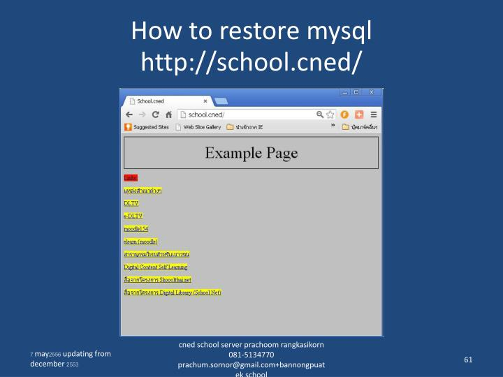 How to restore