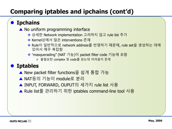 Comparing iptables and ipchains (cont'd)