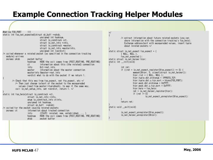Example Connection Tracking Helper Modules