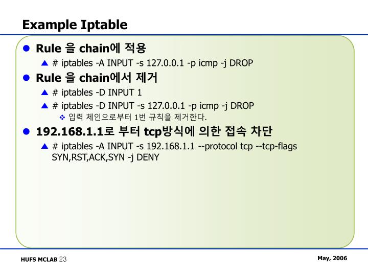 Example Iptable