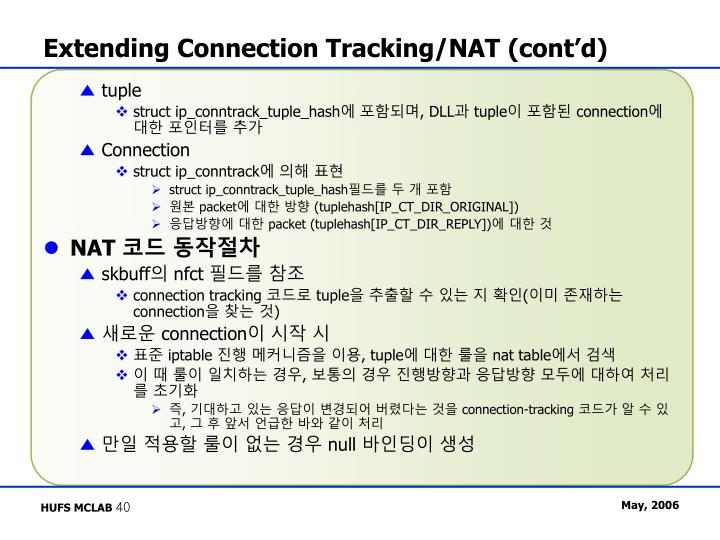 Extending Connection Tracking/NAT (cont'd)