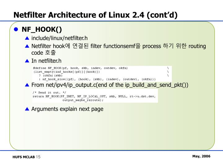 Netfilter Architecture of Linux 2.4 (cont'd)