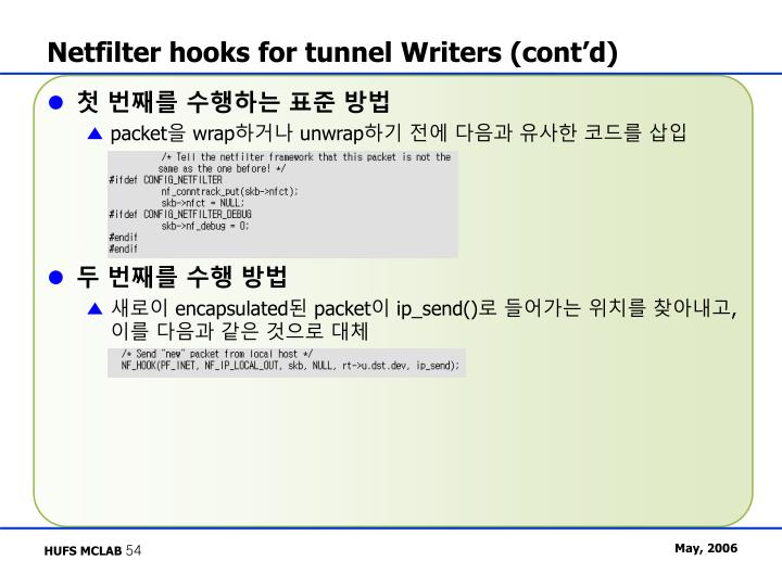 Netfilter hooks for tunnel Writers (cont'd)