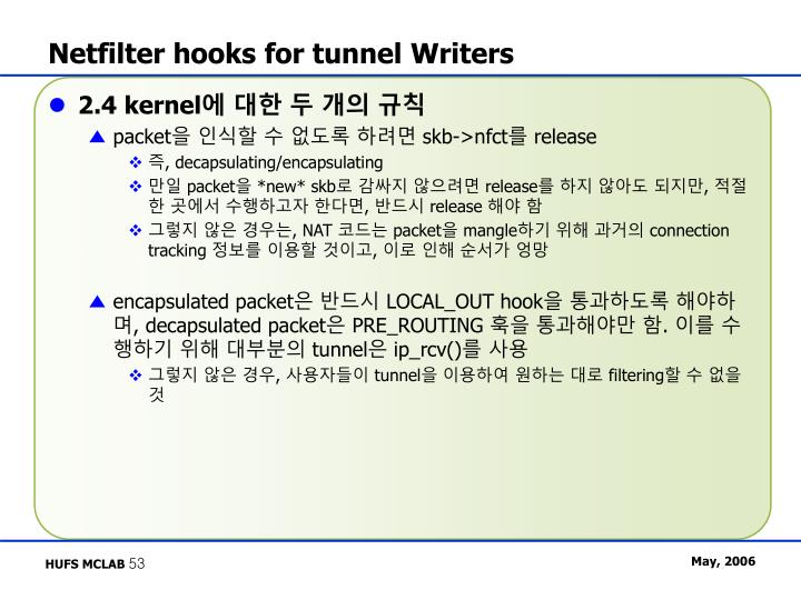 Netfilter hooks for tunnel Writers