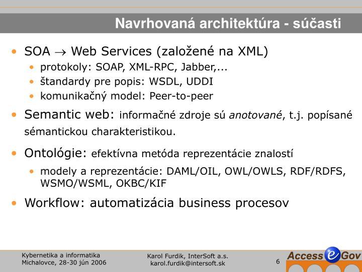 Navrhovaná architektúra - súčasti