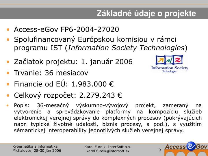 Základné údaje o projekte