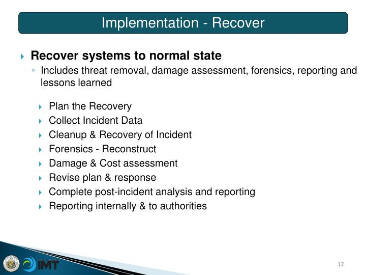 Implementation - Recover