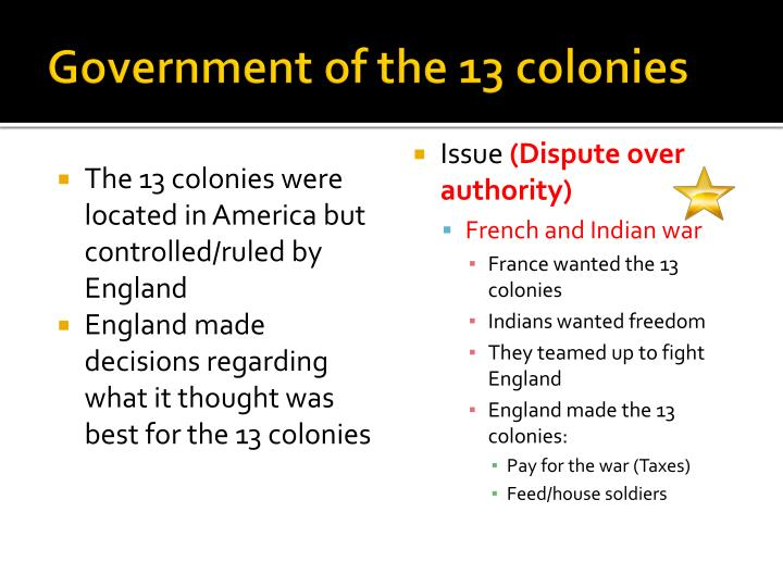 Government of the 13 colonies