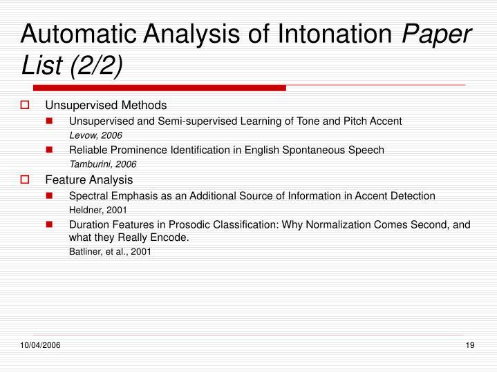 Automatic Analysis of Intonation