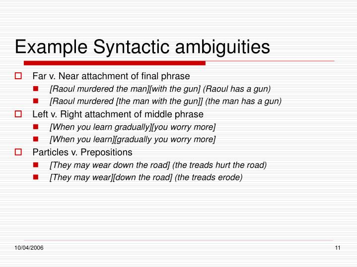 Example Syntactic ambiguities