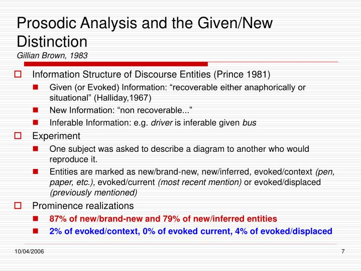 Prosodic Analysis and the Given/New Distinction