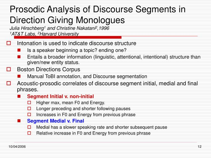 Prosodic Analysis of Discourse Segments in Direction Giving Monologues