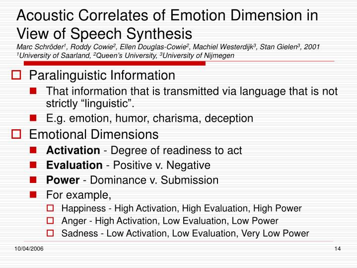 Acoustic Correlates of Emotion Dimension in View of Speech Synthesis