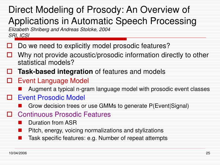 Direct Modeling of Prosody: An Overview of Applications in Automatic Speech Processing