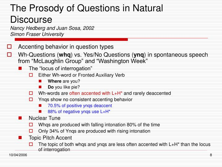 The Prosody of Questions in Natural Discourse