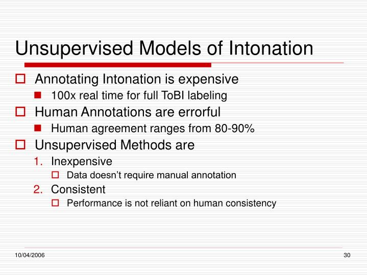 Unsupervised Models of Intonation