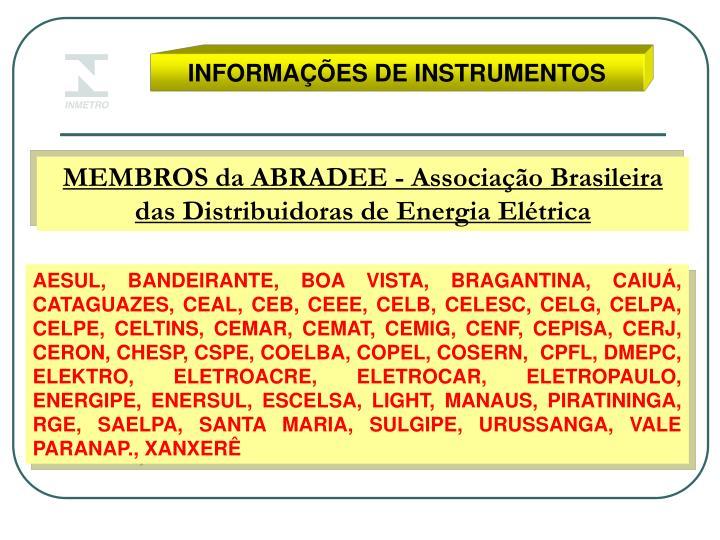INFORMAÇÕES DE INSTRUMENTOS