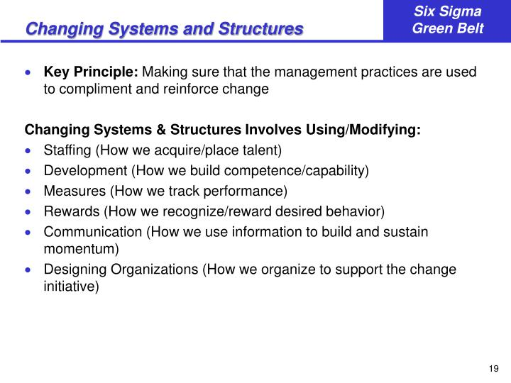 Changing Systems and Structures