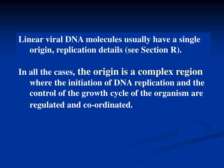Linear viral DNA molecules usually have a single origin, replication details (see Section R).