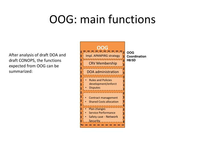 OOG: main functions