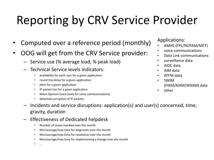Reporting by CRV Service Provider