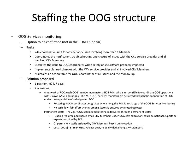Staffing the OOG structure