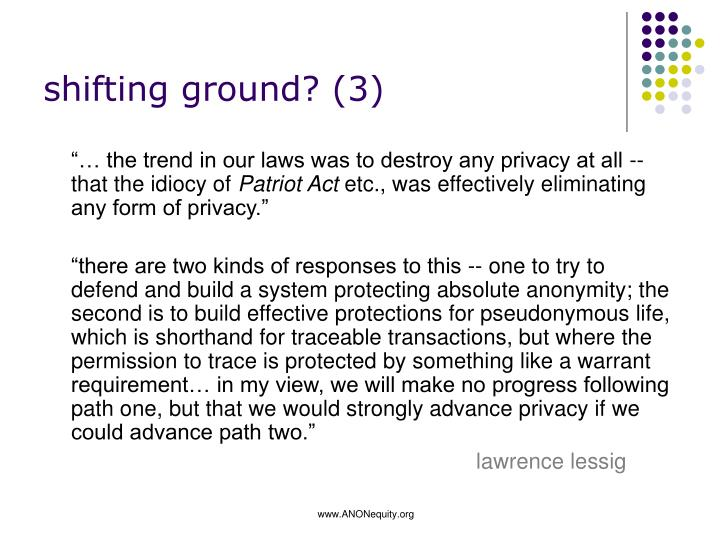 shifting ground? (3)