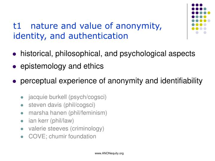 t1   nature and value of anonymity, identity, and authentication